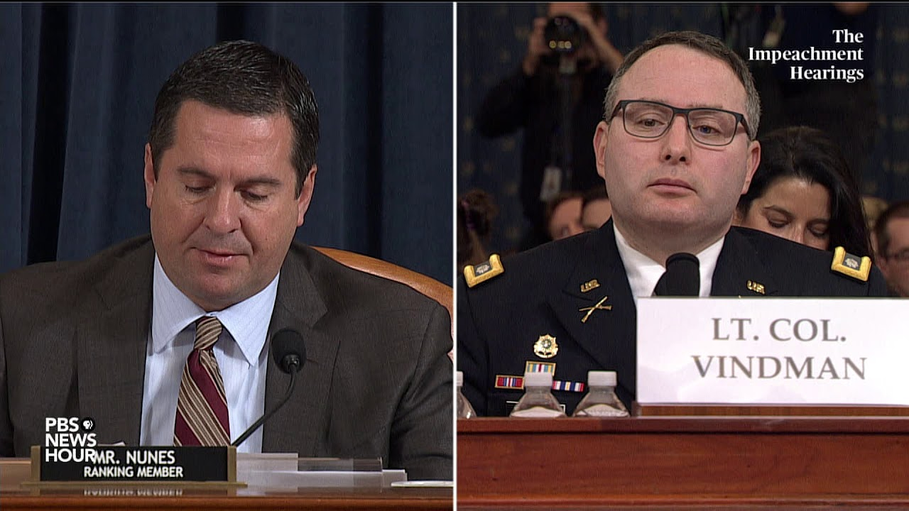 WATCH: Nunes' full questioning of Vindman and Williams | Trump impeachment hearings – YouTube