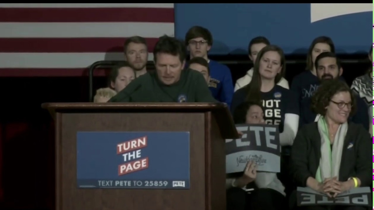 MICHAEL J. FOX jokes about BERNIE SANDERS, slams Trump at PETE BUTTIGIEG rally