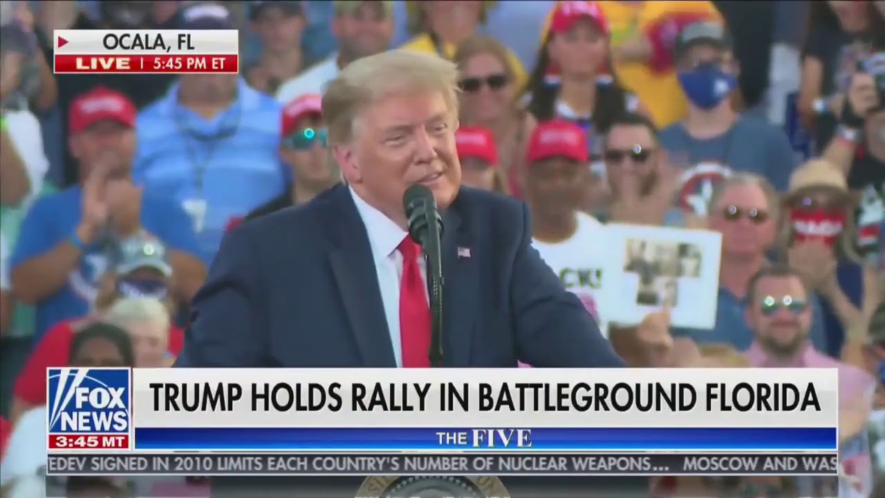 The crowd erupts as President Trump stopped mid-rally to honor and thank a 100 year old vet!
