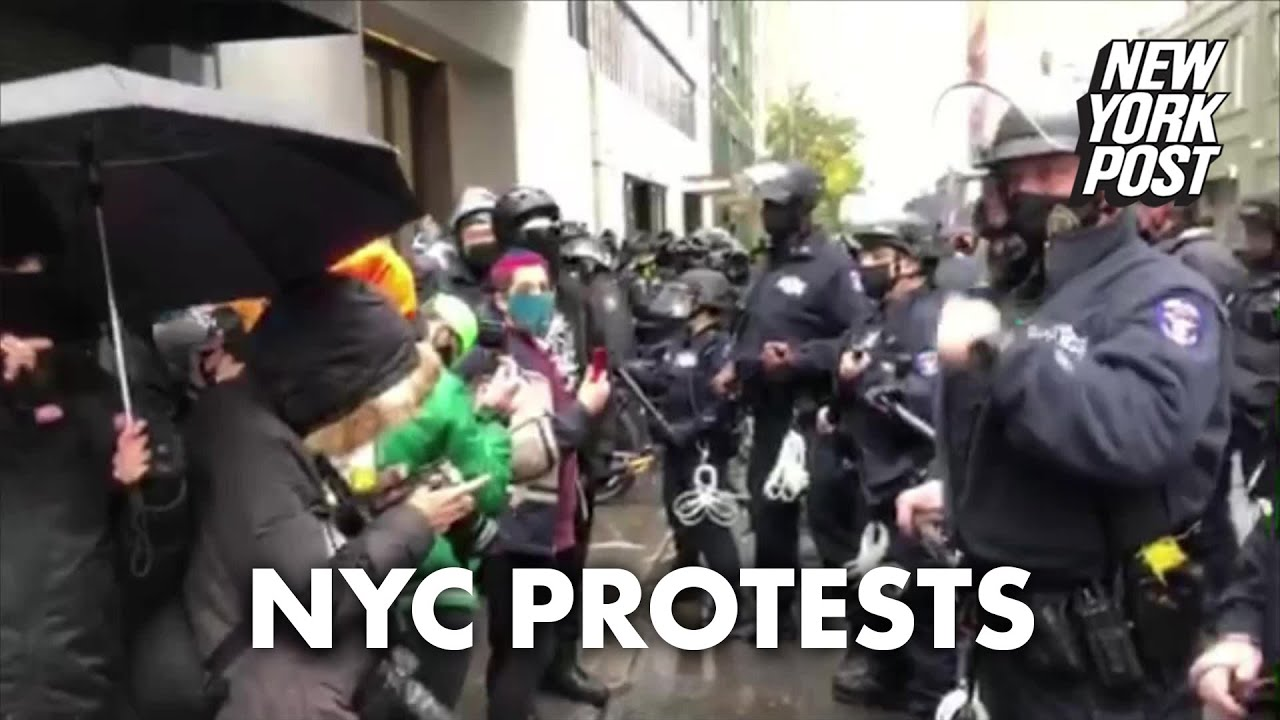 11 arrested after cops clash with anti-Trump protesters in Manhattan