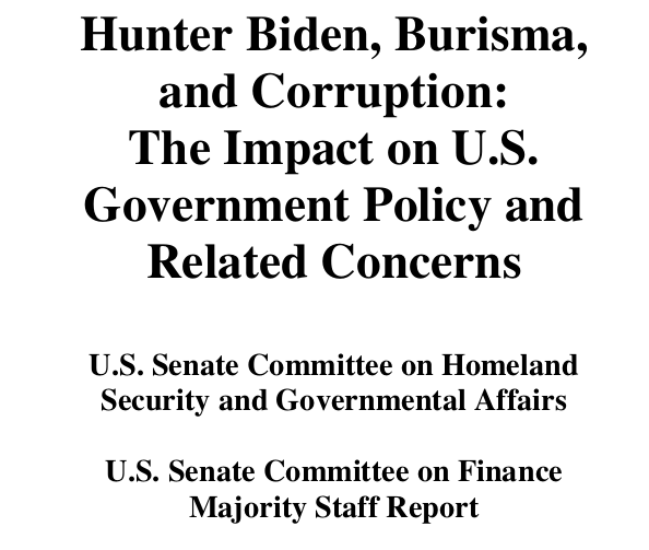 Hunter Biden, Burisma, and Corruption: The Impact on U.S. Government Policy and Related Concerns (PDF and Text)